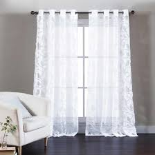 set of two 2 pure white cotton blend sheer window curtain panels