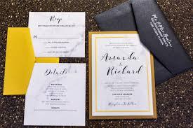 5x7 formal back pocket marble wedding invitation in black and gold