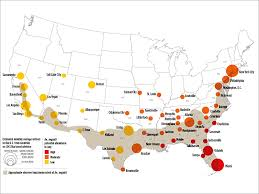 map of usa zika east coast south at greatest risk for zika in continental us