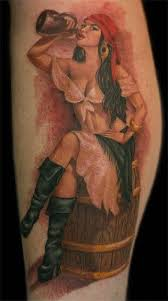 this pin up tattoo shows a woman dressed in a parody of a