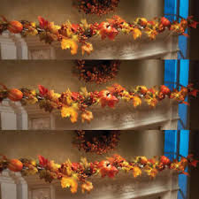 maple leaf garland with lights 1 8m led lighted fall autumn pumpkin maple leaves garland