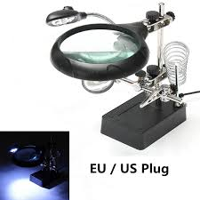 5 led light magnifier magnifying glass helping hand soldering