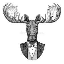 moose elk hipster animal hand drawn illustration for tattoo