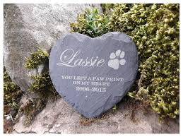 dog grave markers memorial plaque personalised engraved slate heart shape pet