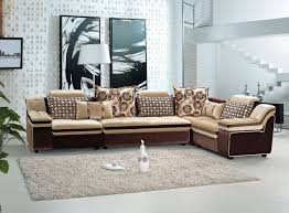 Fabric Sofa Set For Home Furniture Brown L Shape Rattan Wicker Sofa With White Seat And