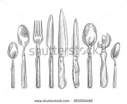 kitchen forks and knives cooking handdrawn set kitchen tools spoon stock vector 363500489
