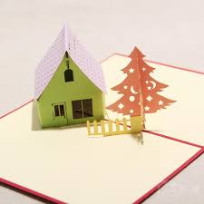 3d greeting card house and tree handmade paper craft 3d pop up