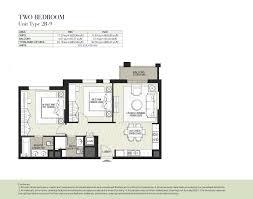 hayat boulevard by nshama 2 bedroom apartment type 2j 1 floor plan