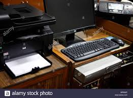 Computer And Printer Desk Offiice Equipment Desktop Computer Printer Fax Machine And