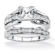 overstock wedding ring sets overstock ultimate cz platinum silver princess cut and