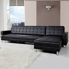 4 seater pu leather sofa bed couch w chaise black buy sofa beds