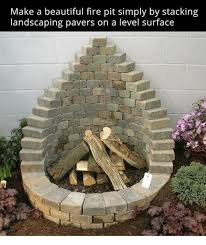 Landscaping Memes - make a beautiful fire pit simply by stacking landscaping pavers on