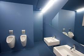 bathroom kid bathroom design with bold blue wall with white
