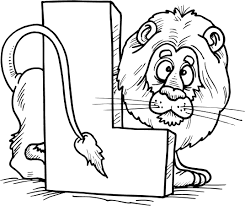 colouring page of letter l with a lion coloring point