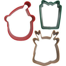 holiday 3 pc cookie cutter set metal