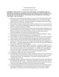 o reading sample answers comprehension packet for part 3