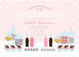 pink candy buffet sweet sixteen birthday party invitation sweet
