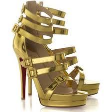 louboutin 123 double platform sandals golden