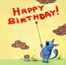 happy birthday card cat writing on the wall u2014 stock photo