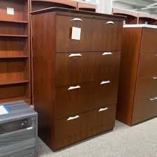 4 Drawer Lateral File Cabinet Used National 4 Drawer Lateral File Cabinet Mahogany Fil1549 002