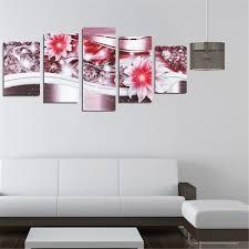 Home Decoration Art 5pcs Diamond Flower Art Print Frameless Canvas Painting Wall