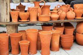 handmade crafts of terracotta pots and vases stock photo picture