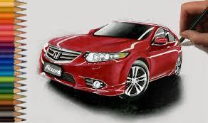 speed drawing red honda accord car in colored pencil jasmina