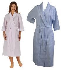 womens bathrobe seersucker stripe wrap ladies 3 4 sleeve lace trim