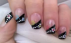 life world women gradient black french tip nail art with dotted