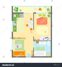 apartment floor plan furniture top view stock vector 529314934