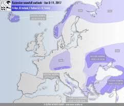 Snow Map Europe Freezes Snow On Greek U0026 Italian Beaches S E Usa Snow
