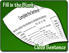 fill in the blank cloze sentence worksheets