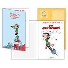 bureau bisous gaston lagaffe glct 0107 carte d anniversaire avec motif bises
