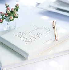 personalised wedding guest book ivory personalised leather script guest book