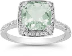 green amethyst engagement ring green amethyst and pave diamond halo ring in 14k white gold