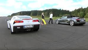 corvette z51 vs z06 corvette stingray z51 and audi r8 v10 race each other for science