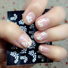 30 sheets floral design 3d white nail art stickers decals manicure