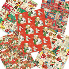 christmas wrapping paper sets time santa vintage style christmas wrapping paper