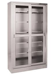 Storage Cabinets Glass Doors Ss7816 Large Storage Cabinet Umf