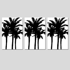 modern palm tree silhouette trio set of three large scale