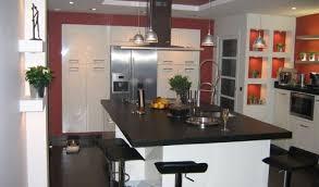 ilot cuisine blanc cuisine contemporaine avec ilot central 3 cuisine am233nag233e