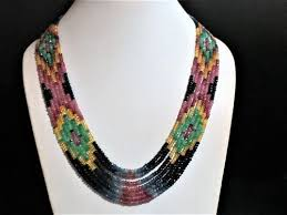 colored gem necklace images 7 strand sapphire ruby emerald multi color gemstone necklace at jpg