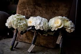 bridesmaids bouquets ivory hydrangea wedding flowers bridesmaids bouquets