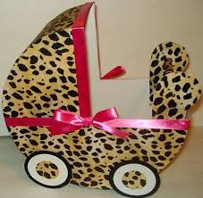 cheetah w pink ribbon baby carriage table centerpiece gift box