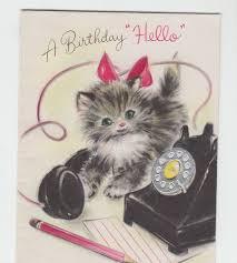 vintage little kitten calling happy birthday on telephone greeting