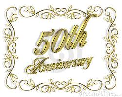 fiftieth anniversary 50th anniversary invitation 3d illustration royalty free stock