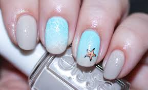 stamped nail art sandy beach summer holiday nails seasonails