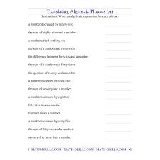 algebra worksheet translating algebraic phrases a new math