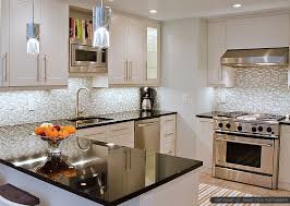 Contemporary Kitchen Backsplashes Contemporary Kitchen Black Granite Countertops With Tile