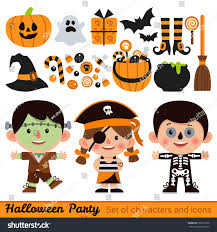 vector set characters icons halloween cartoon stock vector